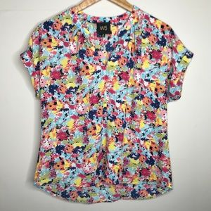 Anthro W5 Multicolor Floral Blouse Workwear